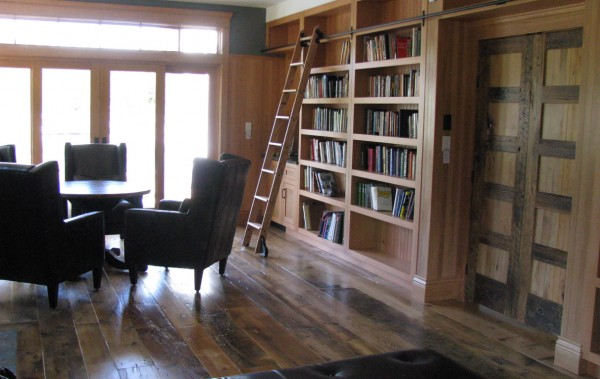 custom home library in vertical grain douglas fir