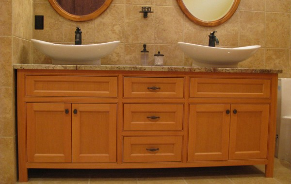 custum douglas fir bathroom vanity