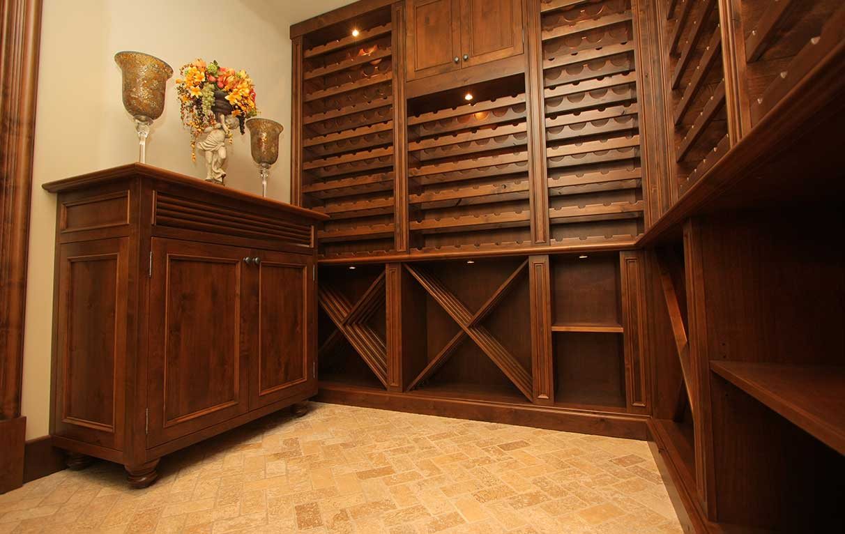custom wine room in knotty alder