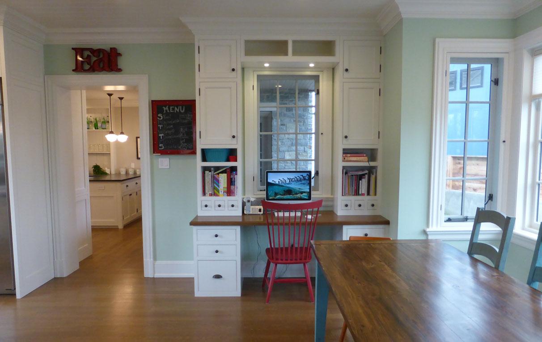 kitchen office in white kitchen