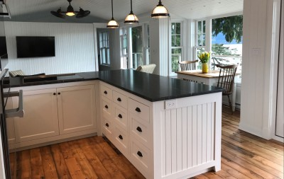 white kitchen in beach cottage