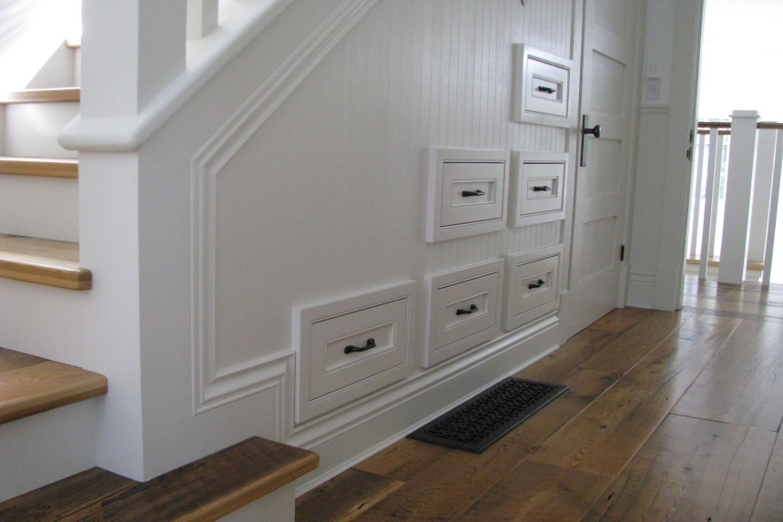 beaded inset cabinets - built in drawers