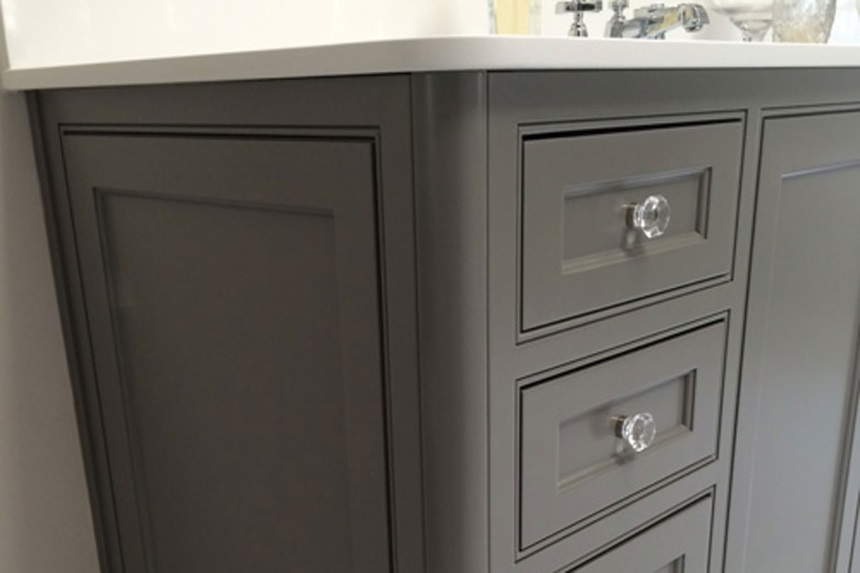 beaded inset cabinets - vanity detail