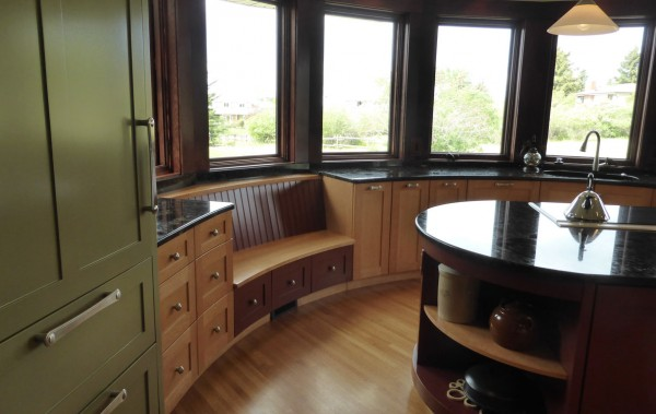 built in curved kitchen bench