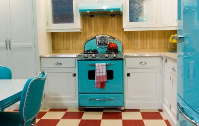 robin's egg blue range and refrigerator