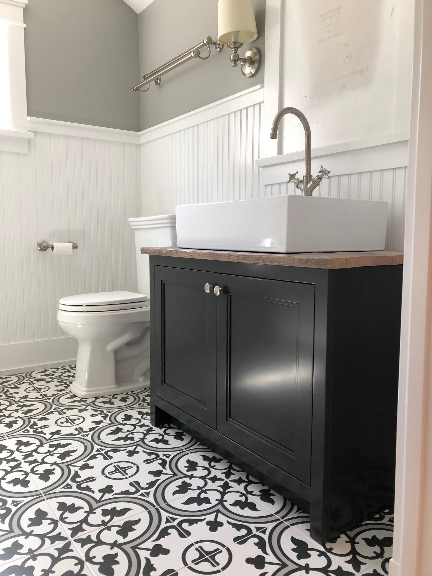 custom bathroom vanity with reclaimed wood top